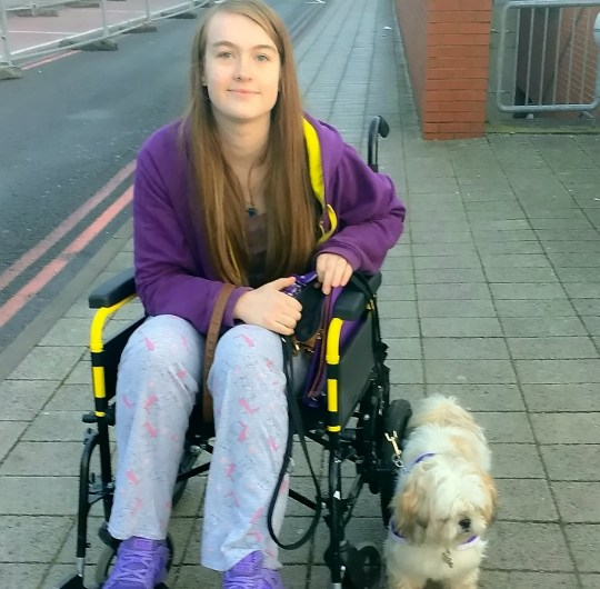 "Abby Cappleman, 18, and her dog Chloe. Concert staff refused to let a disabled teenager and her assistance dog sit in seats she booked to see TV's Supervet in case people had allergies. See SWNS story SWMDdog. Abby Cappleman, 18, and her mother Julie, who is also disabled, had to sit in isolation at the back of Birmingham Arena to watch Noel Fitzpatrick's show. Abby, who blogs about her difficulties accessing services, said: ""We were treated like we had a disease."" A spokeswoman told the BBC the venue ""apologised unreservedly"". In a video posted on her Facebook page Chloe the Assistance Dog, a security guard can be heard telling Abby she cannot sit in her booked seats for ""health and safety reasons"" because people might have ""allergies"". ""Even Noel had his dog on stage at the end of the show,"" said Abby."