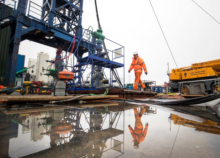 File photo dated 05/10/18 of a worker at the Cuadrilla fracking site in Preston New Road, Little Plumpton, Lancashire. The latest legal challenge against fracking at the Cuadrilla site is set to be heard at the High Court. PRESS ASSOCIATION Photo. Issue date: Thursday November 29, 2018. Friends Of The Earth claims the Environment Agency (EA) failed to ensure that the best available techniques are being used to reduce the environmental impact of fracking at the energy firm's site in Lancashire. See PA story COURTS Cuadrilla. Photo credit should read: Danny Lawson/PA Wire