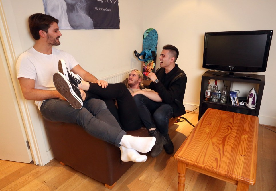 LONDON, UNITED KINGDOM, DECEMBER 2ND 2018. WHAT I RENT: EARLSFIELD Tenants (left to right) Peter Immisch, Kurt Schlomm and Jordan Mercieca are pictured in the living room of their three bedroomed house in Earlsfield, London, 2nd December 2018. All three tenants pay ?2020 a month plus ?85 in bills. Each tenant also has a bathroom each. Photo credit: Susannah Ireland