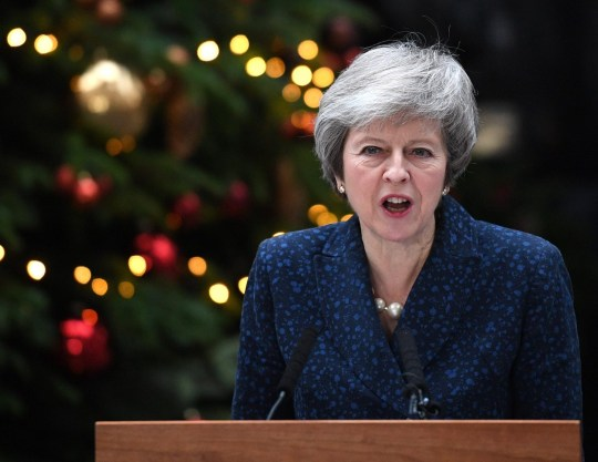 ***BESTPIX*** LONDON, ENGLAND - DECEMBER 12: Prime Minister Theresa May makes a statement in Downing Street after it was announced that she will face a vote of no confidence, to take place tonight, on December 12, 2018 in London, England. Sir Graham Brady, the chairman of the 1922 Committee, has received the necessary 48 letters (15% of the parliamentary party) from Conservative MP's that will trigger a vote of no confidence in the Prime Minister. (Photo by Leon Neal/Getty Images)