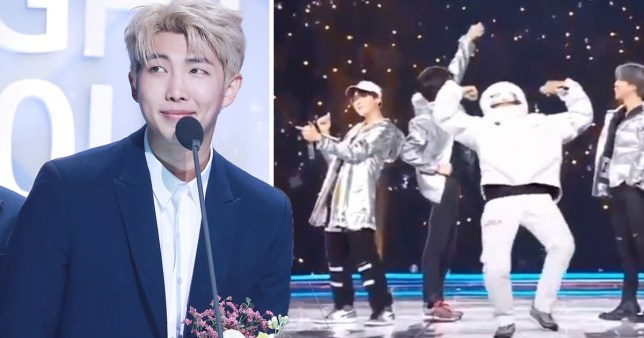 Bts Rm Falls Over In Astronaut Costume During Mama Fans