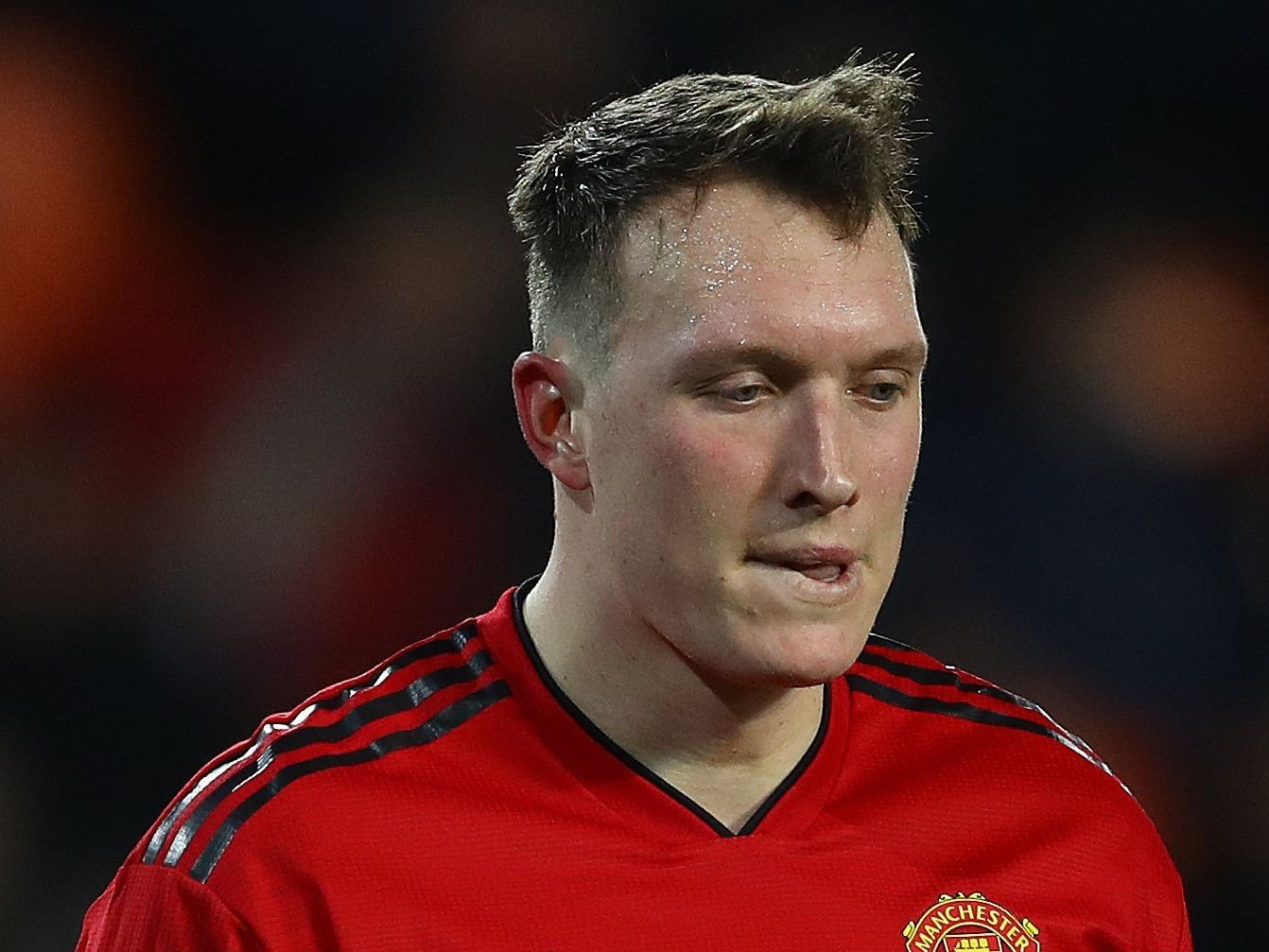 Mandatory Credit: Photo by Kieran McManus/BPI/REX (10031595al) Phil Jones of Manchester United shows a look of dejection Valencia v Manchester United, UEFA Champions League Group H, Football, Mestalla Stadium, Valencia, Spain - 12 Dec 2018