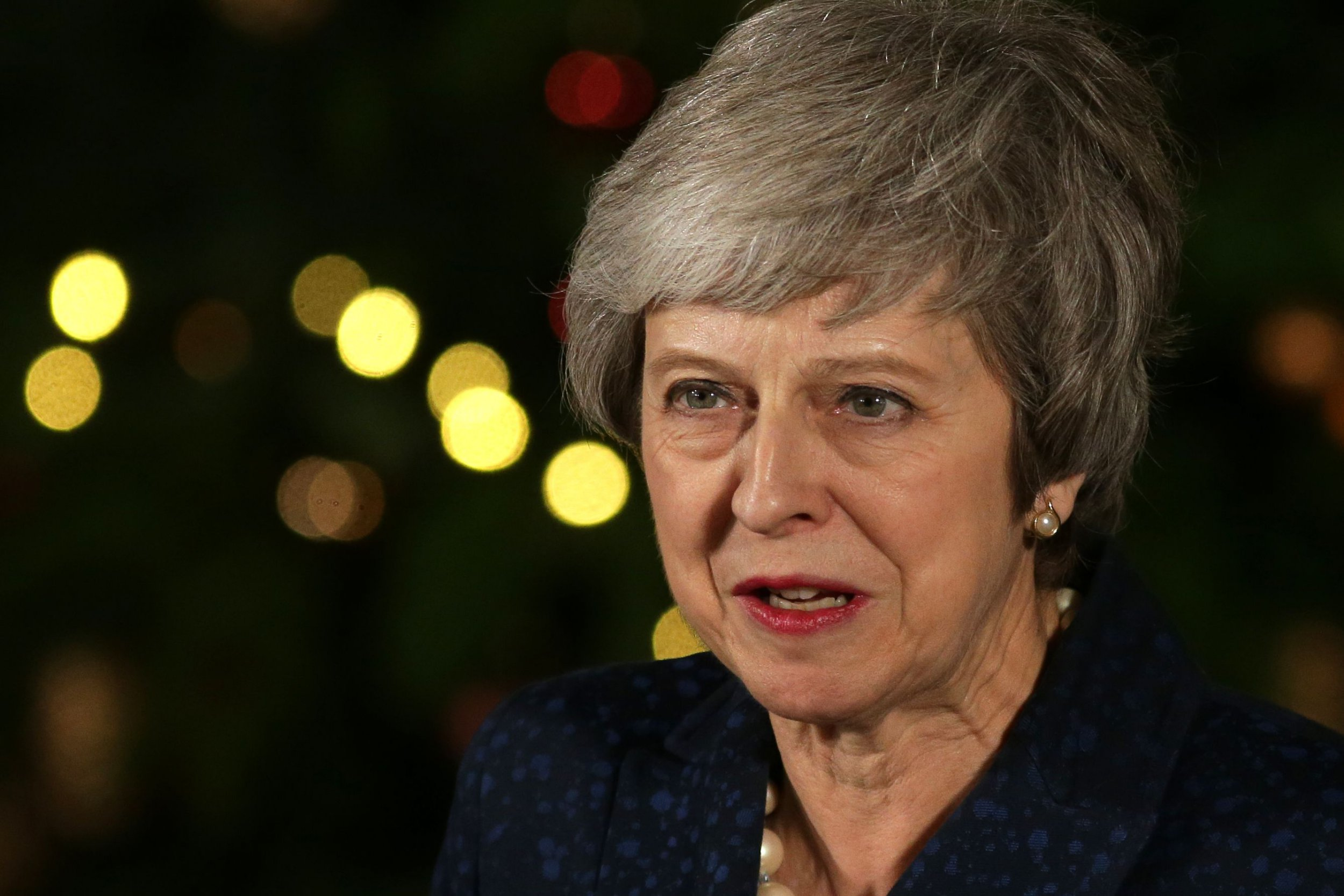 Britain's Prime Minister Theresa May makes a statement outside 10 Downing Street in central London after winning a confidence vote on December 12, 2018. (Photo by Daniel LEAL-OLIVAS / AFP)DANIEL LEAL-OLIVAS/AFP/Getty Images