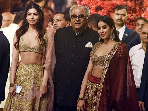 Sridevi's daughters Janhvi and Khushi look like royalty as they attend Ambani-Piramal wedding with dad Boney Kapoor