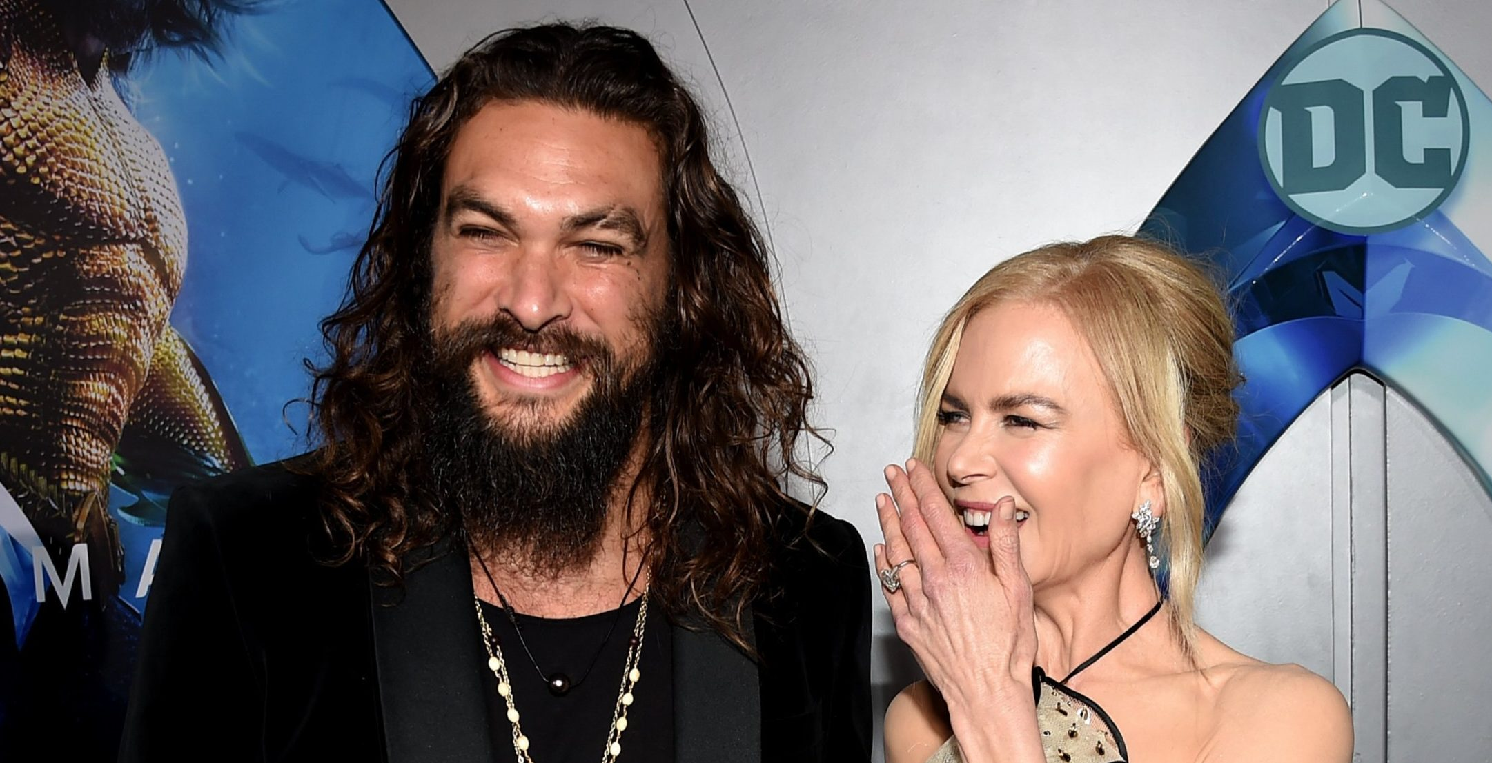 """LOS ANGELES, CA - DECEMBER 12: Jason Momoa (L) and Nicole Kidman arrive at the premiere of Warner Bros. Pictures' """"Aquaman"""" at the Chinese Theatre on December 12, 2018 in Los Angeles, California. (Photo by Kevin Winter/Getty Images)"""