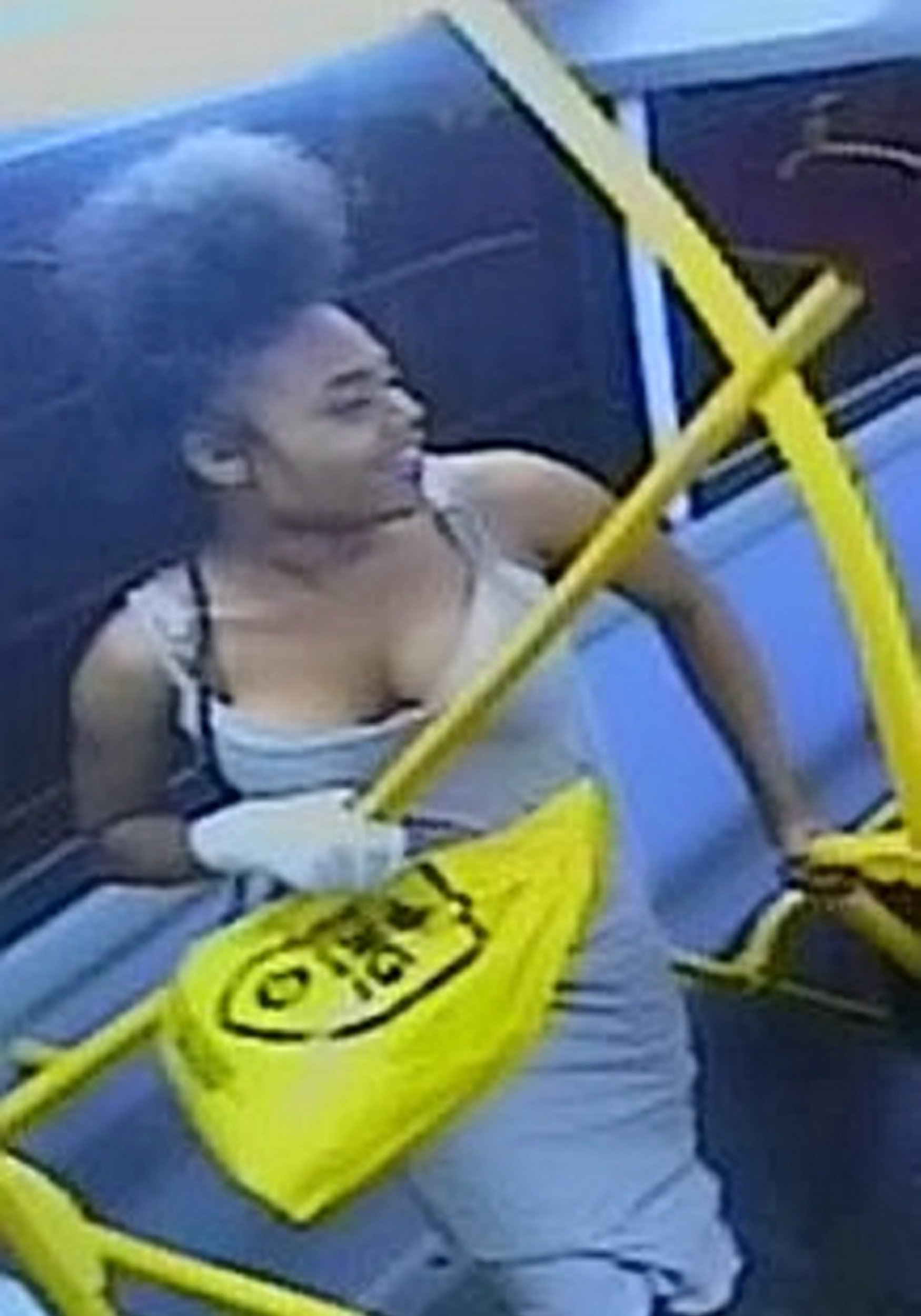 """Detectives are hunting two girls after a woman was battered with a metal pole and spat at on a bus. See National story NNattack; Met Police officers shared CCTV from the bus of two girls they want to speak to over the unprovoked attack - both wearing a dress and trainers. There were four suspects and police said one hit the woman, 29, with the metal pole and two spat at her. The CCTV of two of the suspects appears to show one puffing a cigarette on the bus while the other carries a bright yellow JD sports bag. Cops said they have already quizzed two teens over the assault and both were released under investigation. A spokesman said: """"As they were getting off the bus, they attacked a 29-year-old female passenger. """"One of the suspects hit the woman around the face with a small metal pole - two of the suspects also spat at her. """"Officers from the Roads and Transport Policing Command are investigating."""