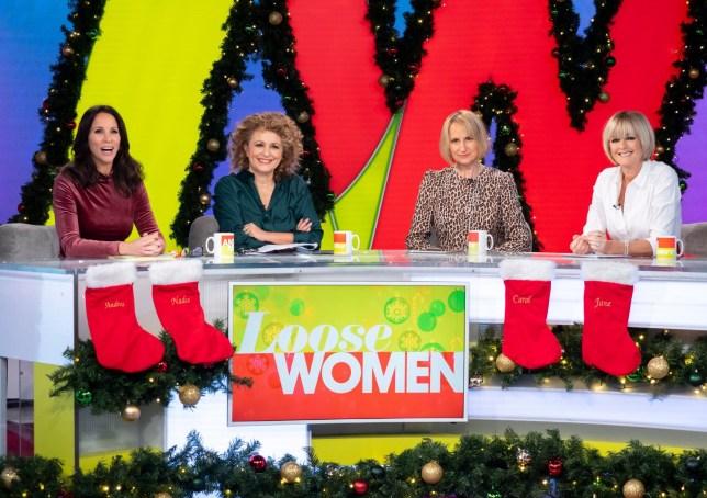 Editorial use only Mandatory Credit: Photo by Ken McKay/ITV/REX (10033203e) Andrea McLean, Nadia Sawalha, Carol McGiffin and Jane Moore 'Loose Women' TV show, London, UK - 13 Dec 2018