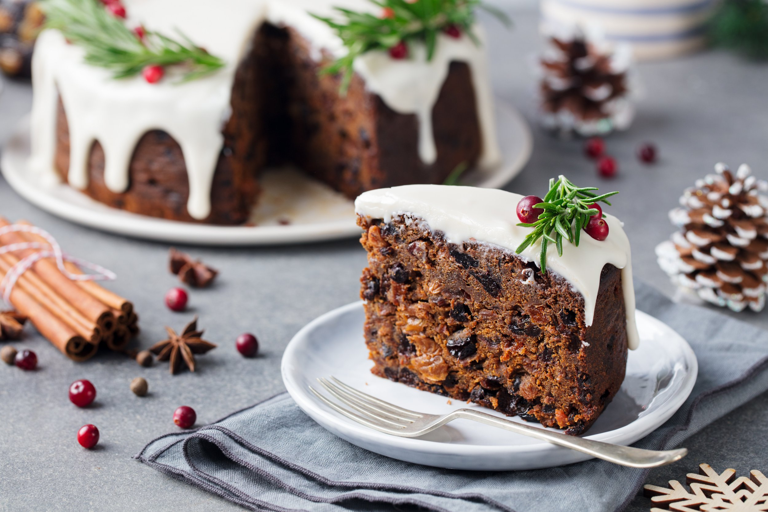 Christmas fruit cake, pudding on white plate. Christmas decoration. Close up.; Shutterstock ID 530890891; Purchase Order: -
