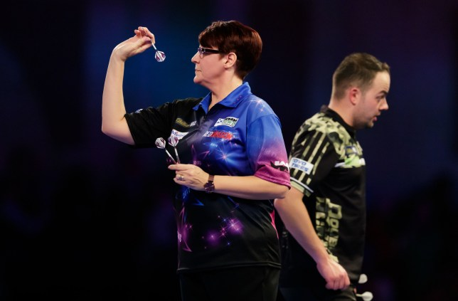 Lisa Ashton during her match against Jan Dekker during day one of the William Hill Darts Championships at Alexandra Palace, London. PRESS ASSOCIATION Photo. Picture date: Thursday December 13, 2018. Photo credit should read: John Walton/PA Wire