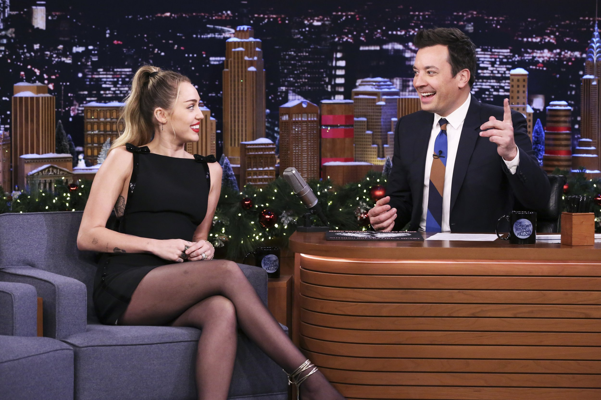 THE TONIGHT SHOW STARRING JIMMY FALLON -- Episode 0981 -- Pictured: (l-r) Singer Miley Cyrus during an interview with host Jimmy Fallon on December 13, 2018 -- (Photo by: Andrew Lipovsky/NBC/NBCU Photobank)