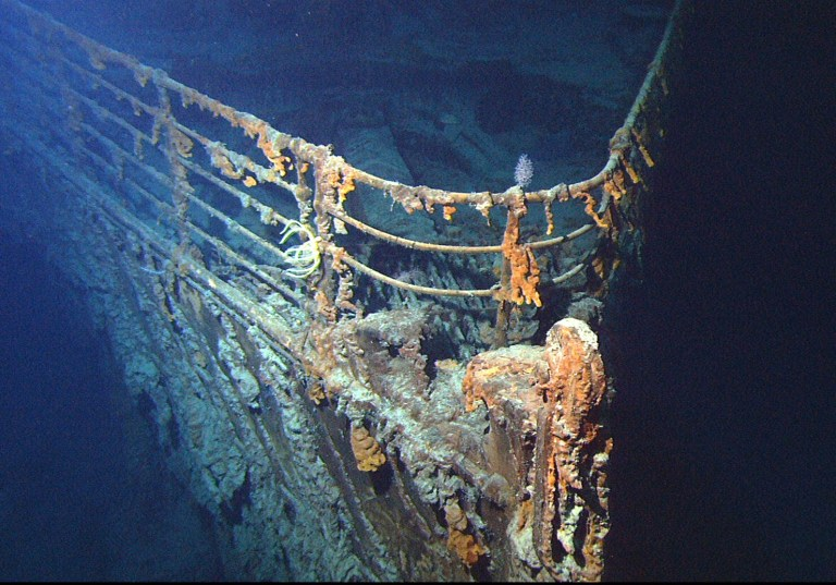 Bow of the RMS Titanic, photographed in 2004 (Picture: NOAA)