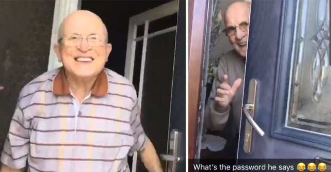 Woman records her grandad????????s adorable reactions when she comes to the door. @JenBarclayX Taken without permission from https://twitter.com/JenBarclayX