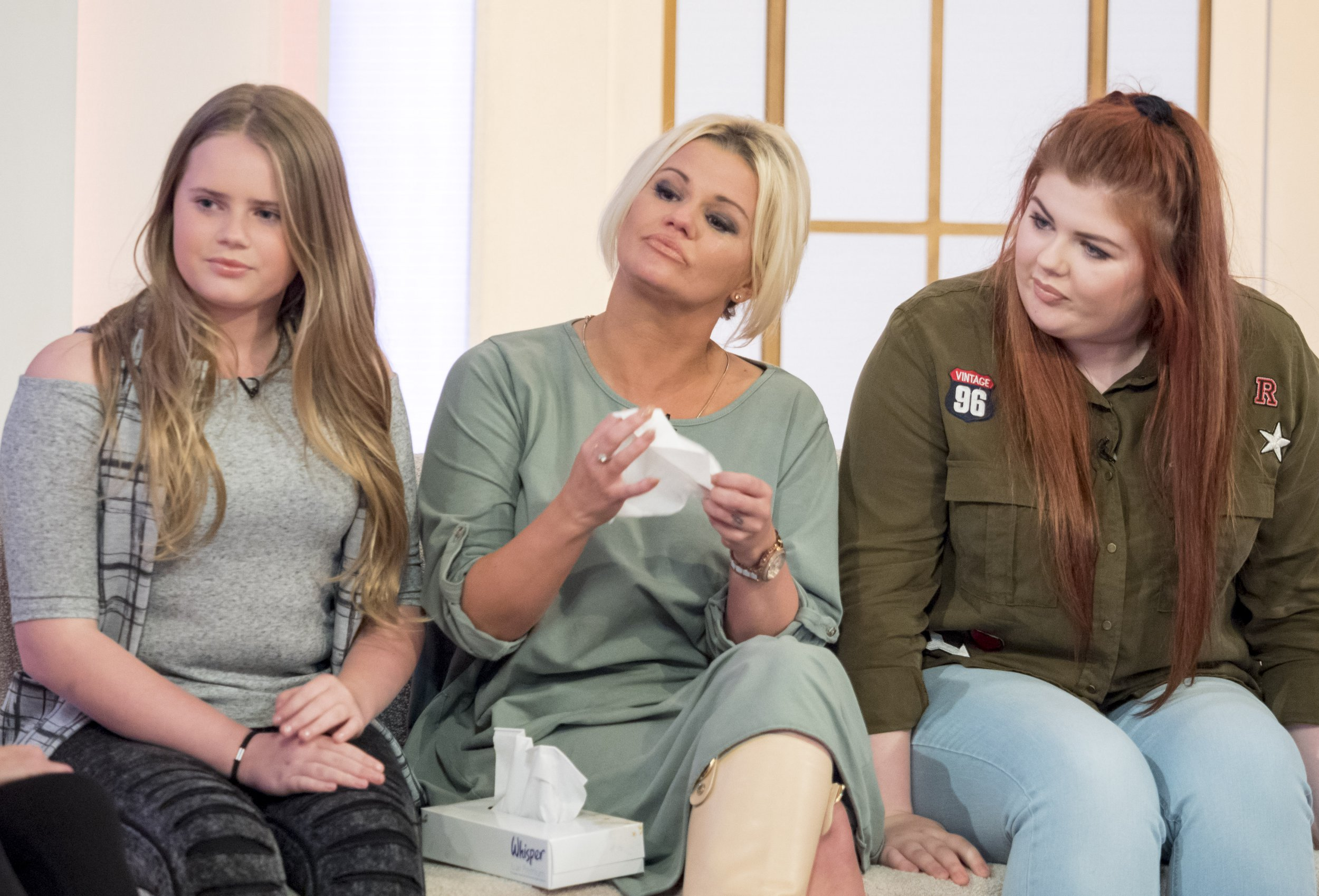 Editorial use only Mandatory Credit: Photo by Ken McKay/ITV/REX/Shutterstock (5682147cs) Kerry Katona with daughters Lily-Sue McFadden and Molly Marie McFadden 'Loose Women' TV show, London, Britain - 11 May 2016