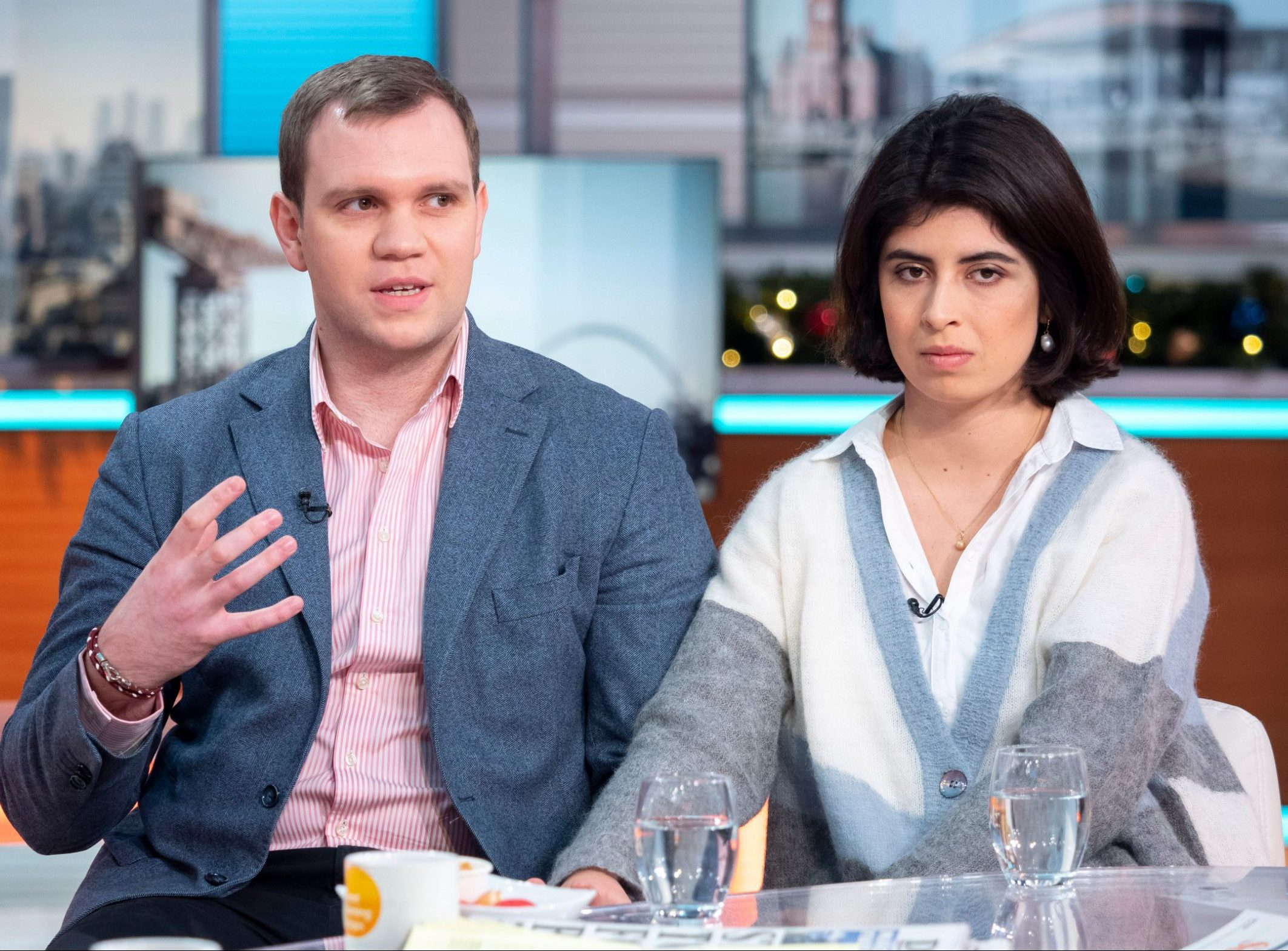 Editorial use only Mandatory Credit: Photo by Ken McKay/ITV/REX (10036118ag) Matthew Hedges and Daniela Tejada 'Good Morning Britain' TV show, London, UK - 18 Dec 2018 MATTHEW HEDGES AND DANIELA TEJADA - DIVYA In his first UK TV interview, Matthew Hedges, the PhD student convicted of spying in the UAE says he's determined to clear his name. The 31 year old who was locked up for five months before he had access to a lawyer, says he was forced to stand for whole days in ankle cuffs and was interrogated for up to 15 hours at a time during his ordeal. He was released after a campaign by his wife, Daniela Tejada, and an intervention from Jeremy Hunt. * Hedges story VT * Matthew Hedges and Daniela Tejada desk