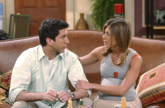 """FRIENDS -- """"The One Where Rachel Is Late"""" -- Episode 22 -- Aired 5/9/2002 -- Pictured (l-r): David Schwimmer as Ross Geller, Jennifer Aniston as Rachel Green -- Photo by: NBCU Photo Bank"""