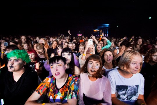 Women attend the Statement Festival at Bananpiren in Gothenburg, Sweden, on August 31, 2018. - Held in Sweden's second-largest city of Gothenburg, the two-day Statement Festival, forbids men but not transgender people. It was announced last year after police received four rape and 23 sexual assault reports at Sweden's largest Bravalla Festival, which was cancelled this year as a result. (Photo by Frida WINTER / TT News Agency / AFP) / Sweden OUT (Photo credit should read FRIDA WINTER/AFP/Getty Images)