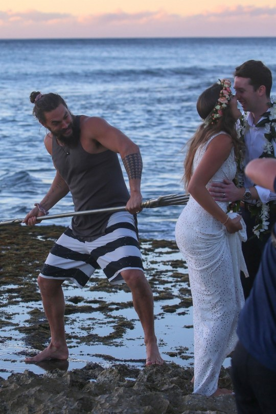 Jason Momoa won't let Aquaman trident go IRL as he crashes wedding