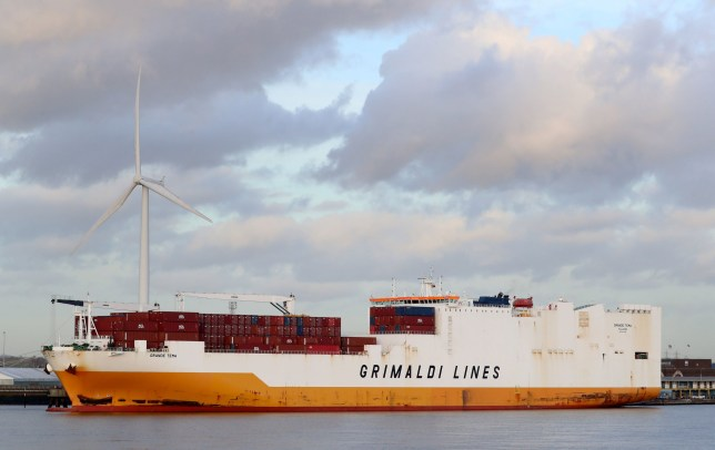 A view of the Grimaldi Lines' Grande Tema docked at the Port of Tilbury, Essex, following special forces storming the ship which was hijacked by migrants off the Kent coast. PRESS ASSOCIATION Photo. Picture date: Saturday December 22, 2018. See PA story POLICE Estuary. Four men have been detained under the Immigration Act after police boarded a cargo ship amid reports of stowaways threatening crew. Photo credit should read: Gareth Fuller/PA Wire
