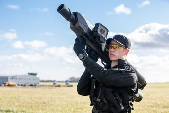 Police testing bazookas to stop drones Credit: Twitter/OpenWorksEngineering