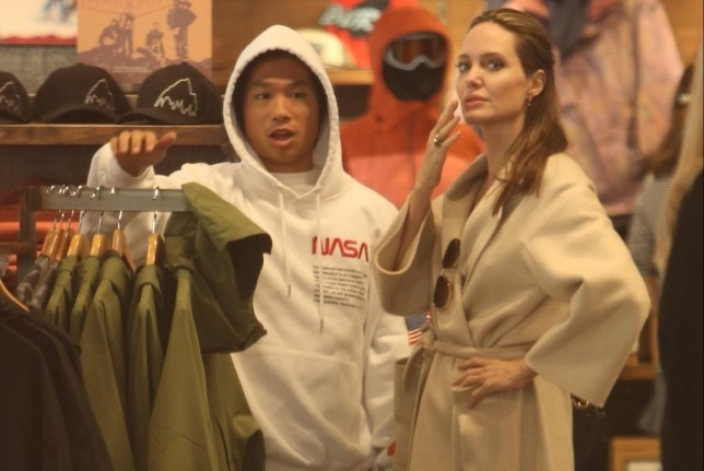 Santa Monica, CA - *EXCLUSIVE* - Angelina Jolie spends some quality time with her son Pax in Santa Monica, CA. The duo are seen Christmas shopping and grabbing lunch as they enjoy their Saturday together. Pictured: Angelina Jolie BACKGRID USA 22 DECEMBER 2018 USA: +1 310 798 9111 / usasales@backgrid.com UK: +44 208 344 2007 / uksales@backgrid.com *UK Clients - Pictures Containing Children Please Pixelate Face Prior To Publication*