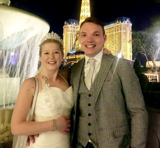 Sarah Elliott, 34, and Paul Edwards, 36, at their marriage in Las Vegas, USA. Two strangers married on Christmas Day after meeting for the first time at an airport in their wedding gear - and boarded a plane to Las Vegas. Sarah Edwards, n?e Elliott, 34, matched with Paul Edwards, 36, online and within days decided to get hitched. They matched online on December 15th and exchanged messages and spoke to each other for the first time on December 22nd. The loved-up couple spoke again on the 23rd had decided to marry - despite never meeting face-to-face. They committed to each other and booked a wedding venue - the Bellagio Hotel and Casino. Meeting for the first time at Gatwick Airport on Christmas Eve, the duo boarded a plane in full wedding gear and jetted off to Las Vegas to get married.