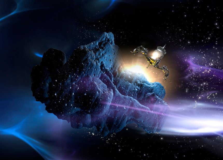 Spacecraft landing on asteroid, computer illustration.
