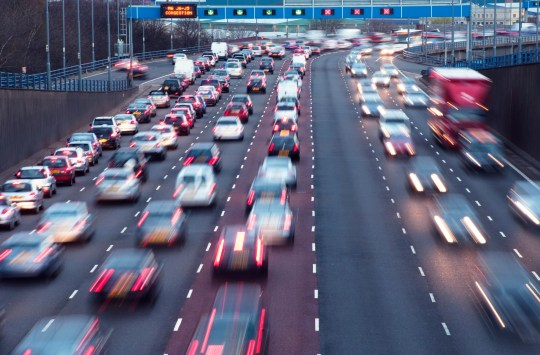 Road casualties up by a third caused by people driving too slowly Rush hour on the A38(M)urban motorway at Aston, Birmingham, UK.