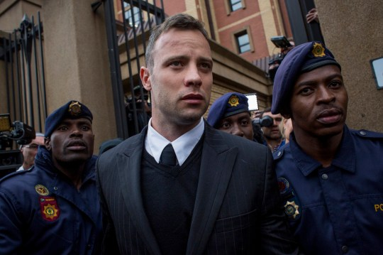 PRETORIA, SOUTH AFRICA - JUNE 14 : Oscar Pistorius leaves the North Gauteng High Court on June 14, 2016 in Pretoria, South Africa. Having had his conviction upgraded to murder in December 2015, Paralympian athlete Oscar Pistorius is attending his sentencing hearing and will be returned to jail for the murder of his girlfriend, Reeva Steenkamp, on February 14th 2013. The hearing is expected to last five days. (Photo by Charlie Shoemaker/Getty Images)