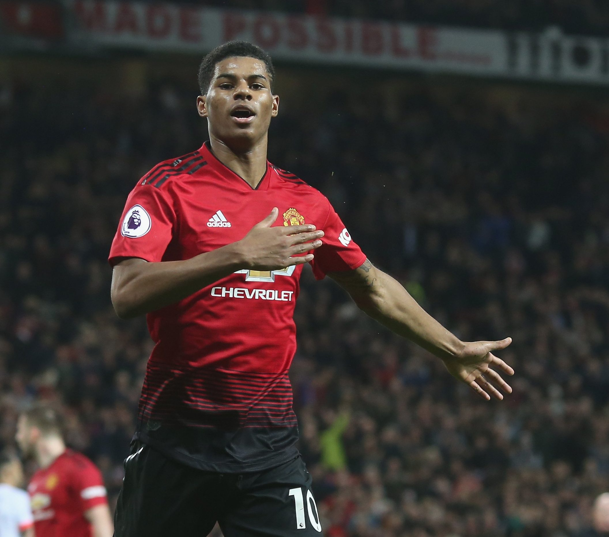 MANCHESTER, ENGLAND - DECEMBER 30: Marcus Rashford of Manchester United celebrates scoring their third goal during the Premier League match between Manchester United and AFC Bournemouth at Old Trafford on December 30, 2018 in Manchester, United Kingdom. (Photo by Tom Purslow/Man Utd via Getty Images)
