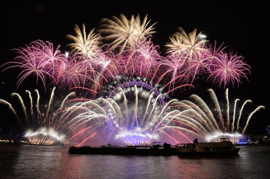 File photo dated 01/01/18 of fireworks over the London Eye in central London during the New Year celebrations 2018 celebrations. Monday's sold-out New Year's Eve fireworks show will be a celebration of London's relationship with Europe, Sadiq Khan has revealed. PRESS ASSOCIATION Photo. Issue date: Monday December 31, 2018. See PA story SOCIAL NewYear London. Photo credit should read: John Stillwell/PA Wire
