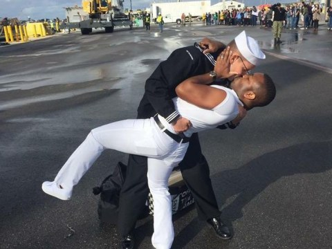 Sailor recreates iconic Navy kiss – but faces homophobic backlash