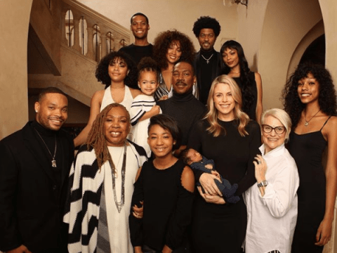 Eddie Murphy poses with all 10 of his children for the first time – and Mel B's daughter Angel is right in front