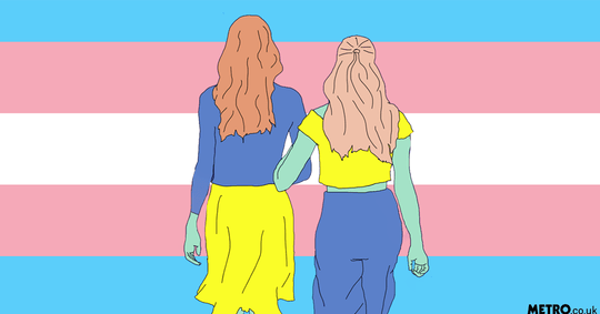 Illustration of two women in front of a trans flag