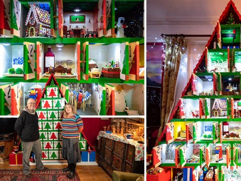 Couple build 8ft advent calendar made with 450,000 Lego bricks