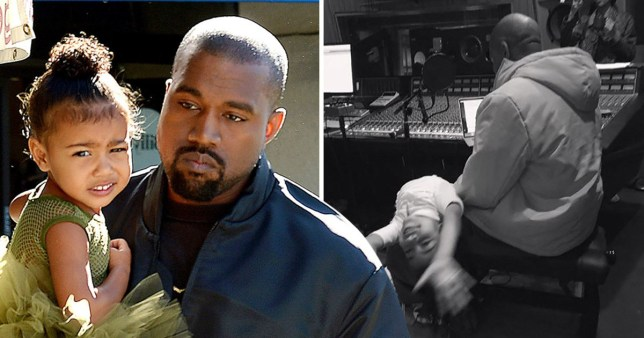 Kanye West larks around with daughter North in the recording studio