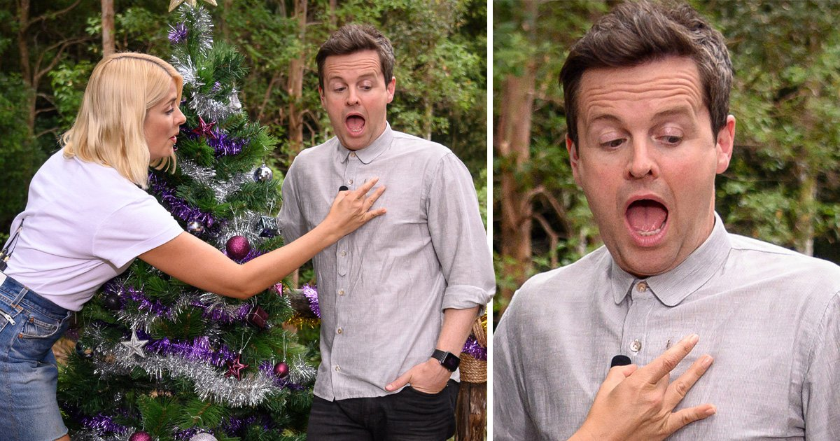 Holly Willoughby gets ant out the way for Declan Donnelly on I'm A Celebrity