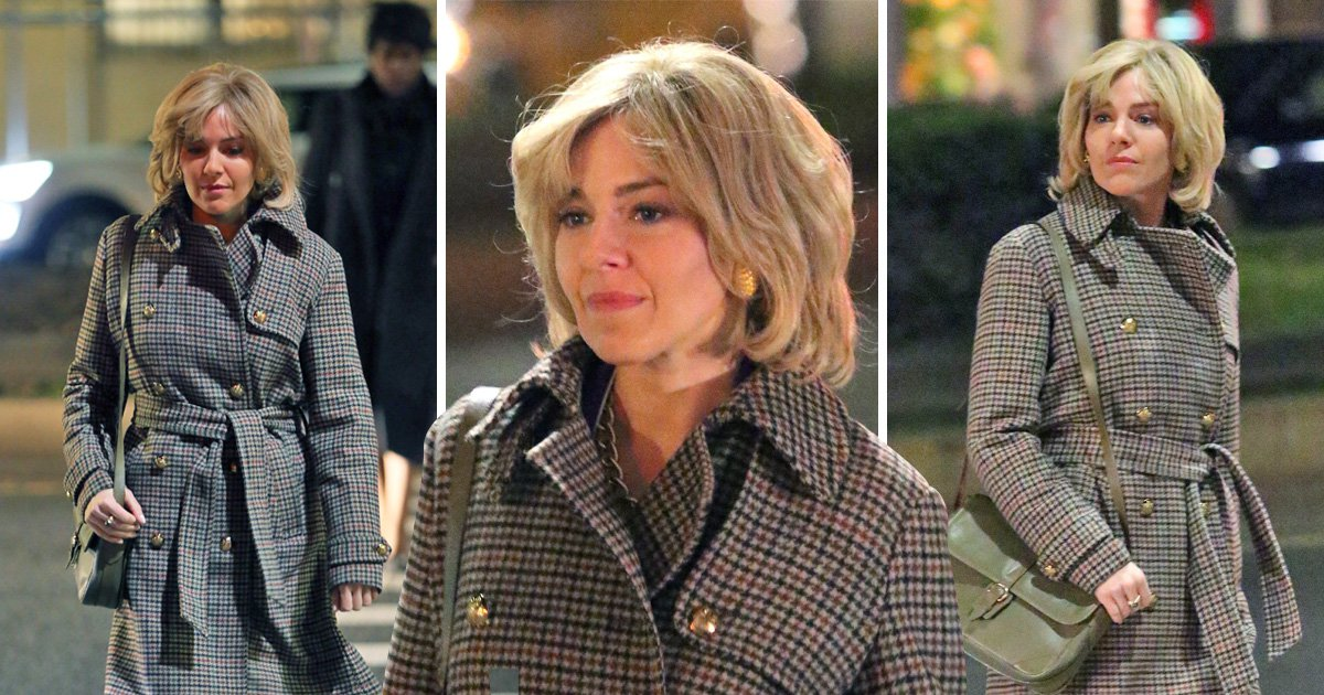 """First Look at Sienna Miller with wig and prosthetics as Roger Ailes' wife Beth for """"The Loudest Voice"""" filming in New York City"""