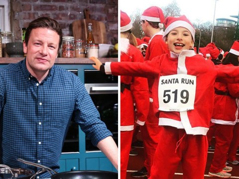 Jamie Oliver's daughter Petal is adorable as she jumps for joy during Santa fun run
