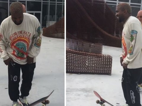 Kanye West tries his Kanye best as he learns to skateboard in Miami