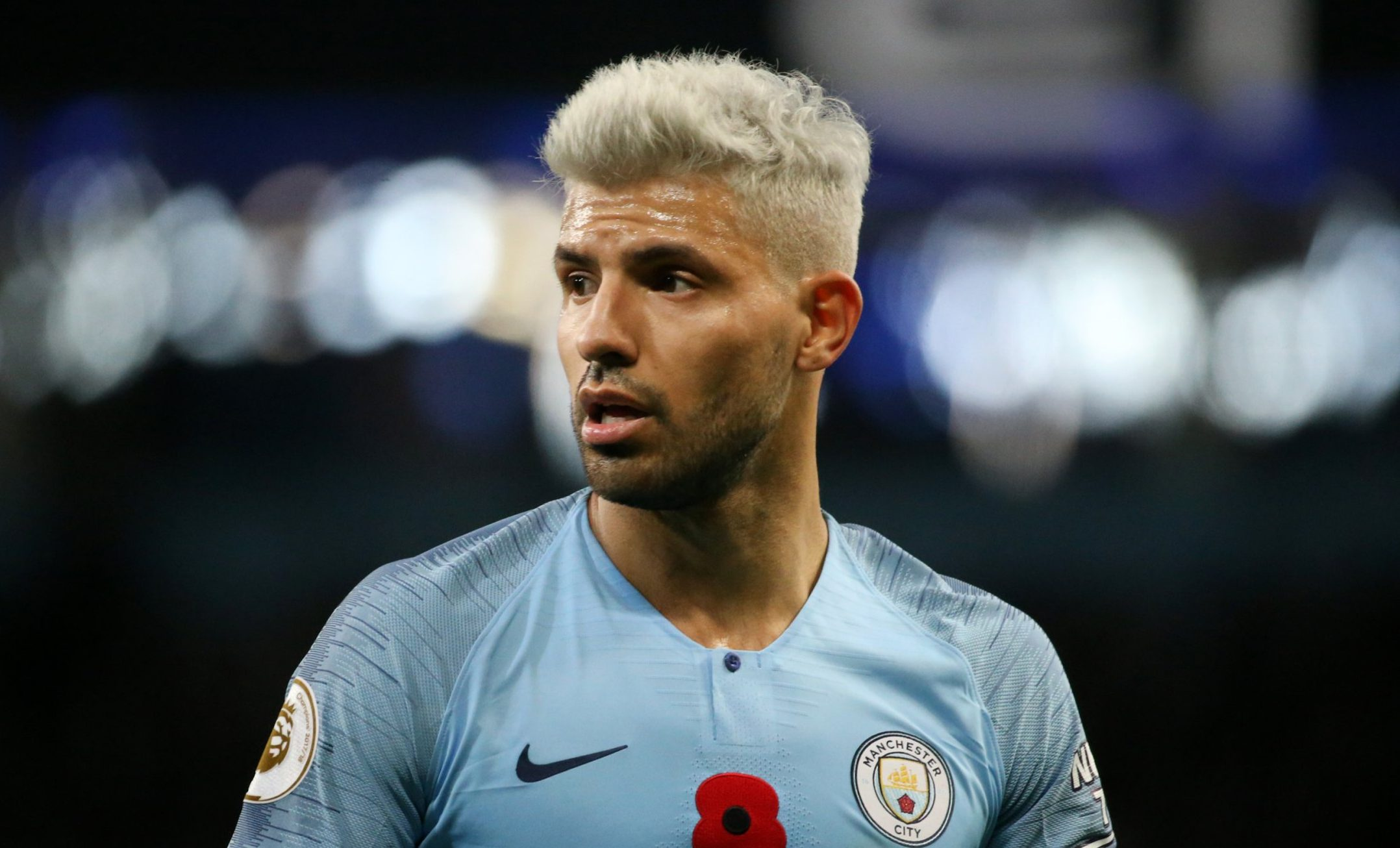 MANCHESTER, ENGLAND - NOVEMBER 11: Sergio Aguero of Manchester City looks on during the Premier League match between Manchester City and Manchester United at Etihad Stadium on November 11, 2018 in Manchester, United Kingdom. (Photo by Tom Flathers/Man City via Getty Images)