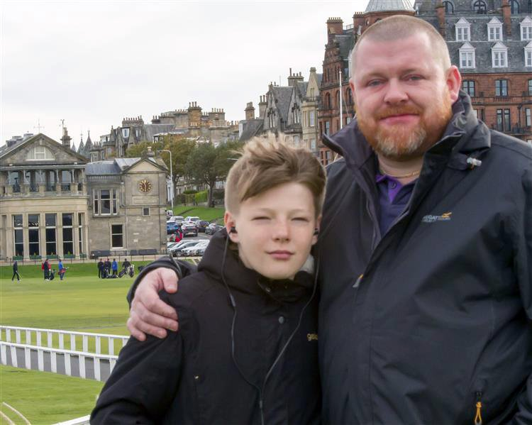 WESSEX NEWS AGENCY Jim Hardy email news@britishnews.co.uk mobile 07501 221880 STORY CATCHLINE: SCOTTISH A man claimed he was the victim of a hate crime after a post office in Kent refused to accept his Scottish bank note. Pic shows Patrick Burgess and son Daniel on their trip to St Andrews, Scotland