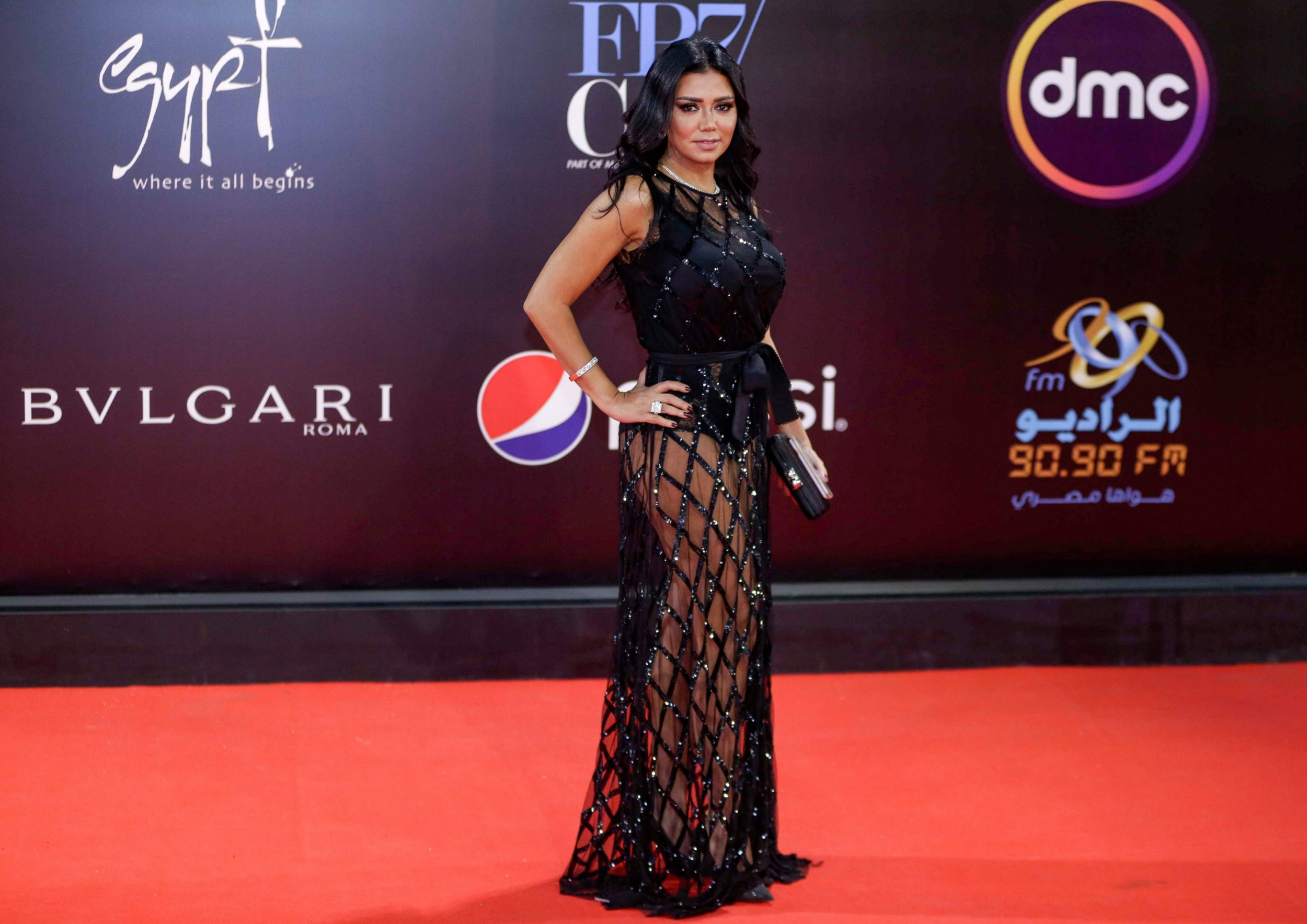 Egyptian actress Rania Youssef poses on the red carpet at the closing ceremony of the 40th edition of the Cairo International Film Festival (CIFF) at the Cairo Opera House in the Egyptian capital on November 29, 2018. (Photo by Suhail SALEH / AFP)SUHAIL SALEH/AFP/Getty Images