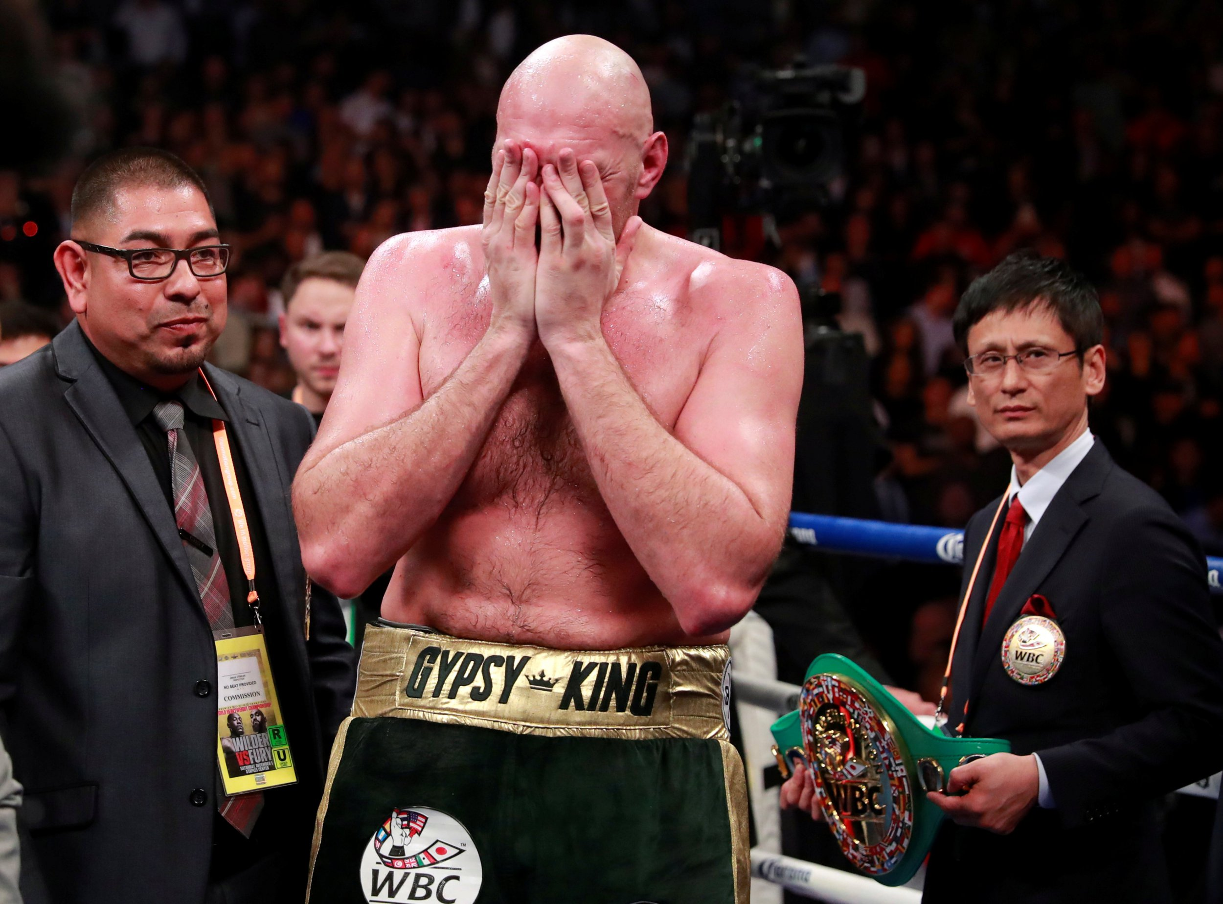 Boxing - Deontay Wilder v Tyson Fury - WBC World Heavyweight Title - Staples Centre, Los Angeles, United States - December 1, 2018 Tyson Fury reacts after the fight Action Images via Reuters/Andrew Couldridge