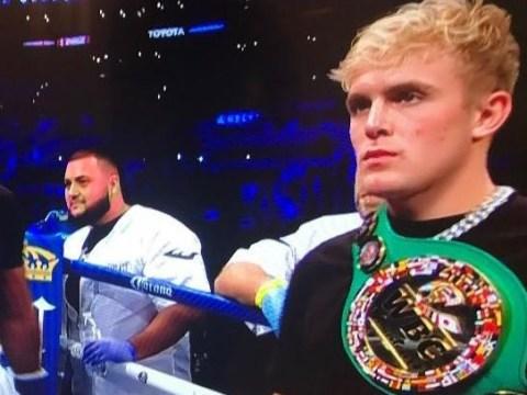 Jake Paul turns up at Fury vs Wilder fight wearing belt he won against KSI's brother Deji and everyone is confused