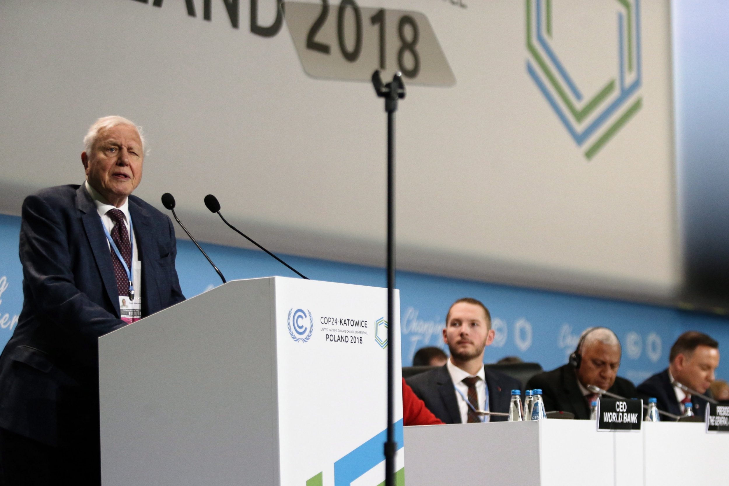 epa07205712 British naturalist and TV personality David Attenborough delivers a speech during the opening ceremony of the COP24 summit in Katowice, Poland, 03 December 2018. The COP (Conference of the Parties) summit is the highest body of the UN Framework Convention on Climate Change (UNFCC). Expected at the meeting are close to 30,000 delegates from all over the world, including government leaders and ministers responsible for environmental policy. EPA/ANDRZEJ GRYGIEL POLAND OUT