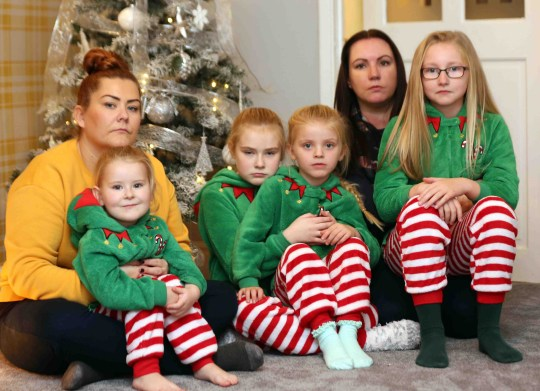 Four young girls have been left heartbroken after their dream Christmas trip to Lapland was cancelled - because the snow melted. The children, who hours earlier were bursting with excitement to visit the home of Santa Claus, were devastated to discover their trip would not be going ahead the night before they were due to travel. On Saturday morning, after six months of secret planning to create the perfect Christmas surprise, two mothers and one auntie told ten-year-old Katy-Leigh, eight-year-old Ellie, five-year-old Amelia and three-year-old Alice about the trip. Sam Hardy with kids Katy-Leigh and Alice and Sara Padden with daughter Ellie who were all set to go to Lapland but the trip was cancelled last minuet