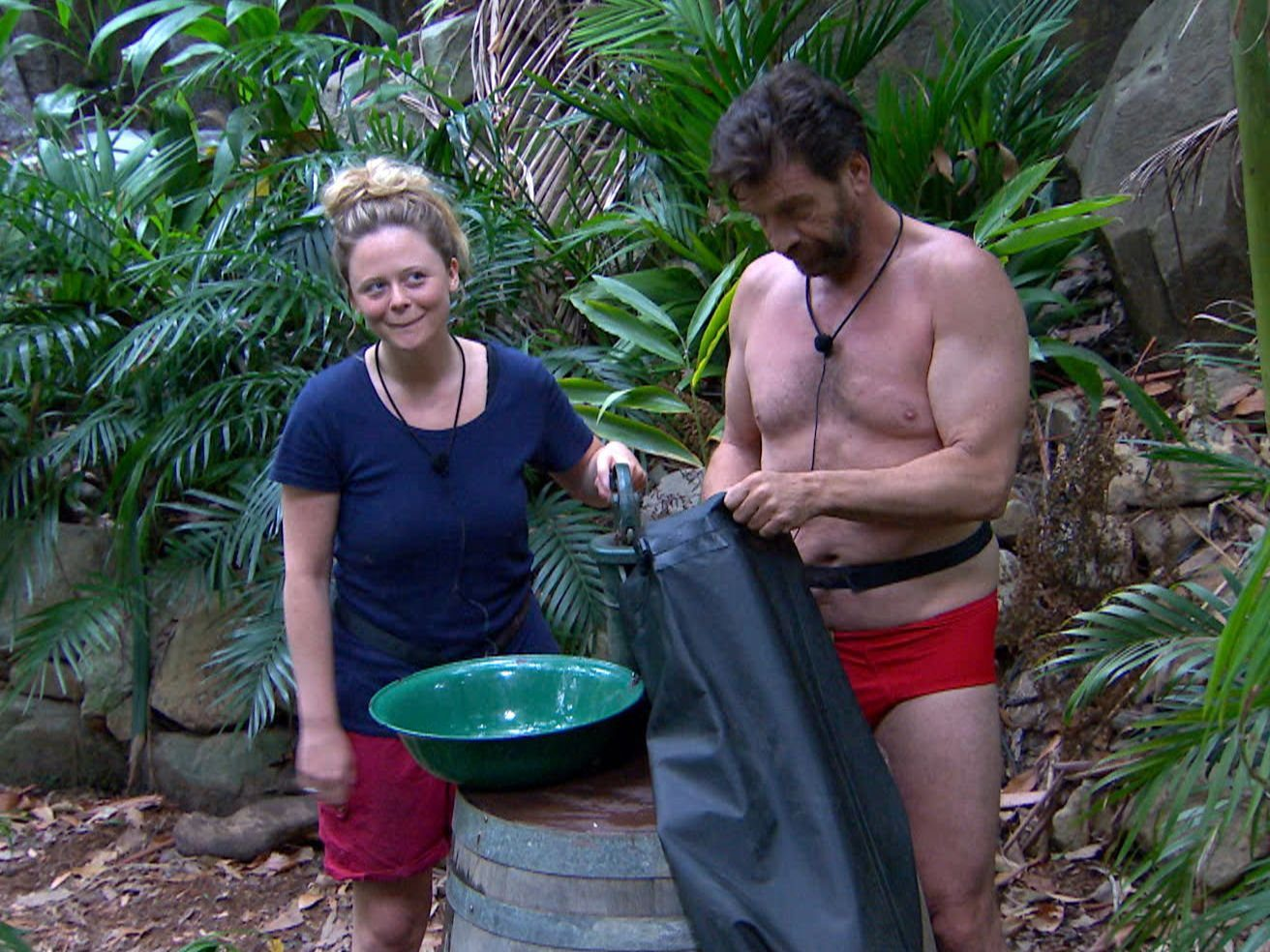 STRICT EMBARGO - NOT TO BE USED BEFORE 22:30 GMT, 04 DEC 2018 - EDITORIAL USE ONLY Mandatory Credit: Photo by ITV/REX (10013449au) Morning Story and Sair Leaves Camp - Emily Atack and Nick Knowles 'I'm a Celebrity... Get Me Out of Here!' TV Show, Series 18, Australia - 04 Dec 2018
