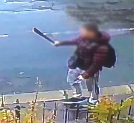 This is the terrifying moment a young man ran down a residential street waving a machete around. The images of the youth have been released by a Lindley resident who is fed up with anti-social behaviour, drug dealing and disorder. Postman Andrew Green said the incident happened on Wellington Street in Lindley on the afternoon of Wednesday November 7.