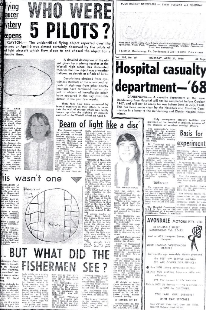 The Dandenong Journal 21st August 1966 Westall High School UFO sighting