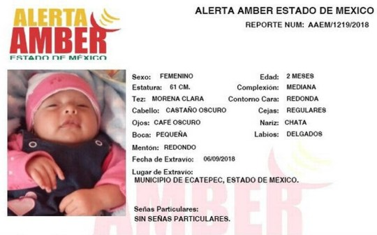 """Pic shows: The Amber alert of the baby girl. The suspected serial killer who said he fed women's hearts to his dogs is said to have sold one of his victims??? baby to a couple who have now been arrested. Rosa Laura N. and Adrian N. are said to have bought the daughter of one of the victims of the alleged serial killer who is believed to have killed at least 10 women in the Ecatepec area of the Mexican capital, Mexico City. The baby girl, called Valentina, was the daughter of Nancy, one of the women who is believed to have been killed by the alleged serial killer who was arrested with his girlfriend pushing a pram full of human remains. The couple are believed to have paid 15,000 MXN (599 GBP) for the girl. The couple???s lawyer Santiago Garcia said they bought the baby as a humanitarian act. He said: """"Totally in a humanitarian way, they said in that moment. They had tried for years to have a baby and then a person arrived and cheated them. They were told that the baby was going to be given to another person and that if they wanted her for help her for humanitarian reasons (they should buy her) and they did it."""" The lawyer said the couple had gone through the procedures of legally registering the baby. The couple were arrested after the suspected killer, named as Juan Carlos, and his girlfriend, first name Patricia, identified them as the buyers of the baby. They have been charged with offering a 500-MXN (20-GBP) bribe to a police officer investigating the case. The lawyer said they should be released from custody as the crime they committed is not serious but this request has been rejected. They could face five years in prison if found guilty of bribery. Prosecutors are reportedly working to open a case of human trafficking through illegal adoption against the couple. Juan Carlos has reportedly confessed to having killed over 10 women in the Ecatepec area and told a doctor after his arrest that he would rather feed a woman???s remain to his dogs than see"""